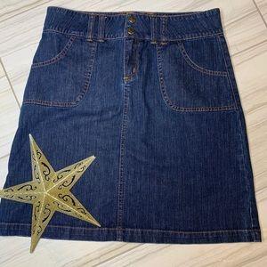 prAna Mid Length Denim Skirt